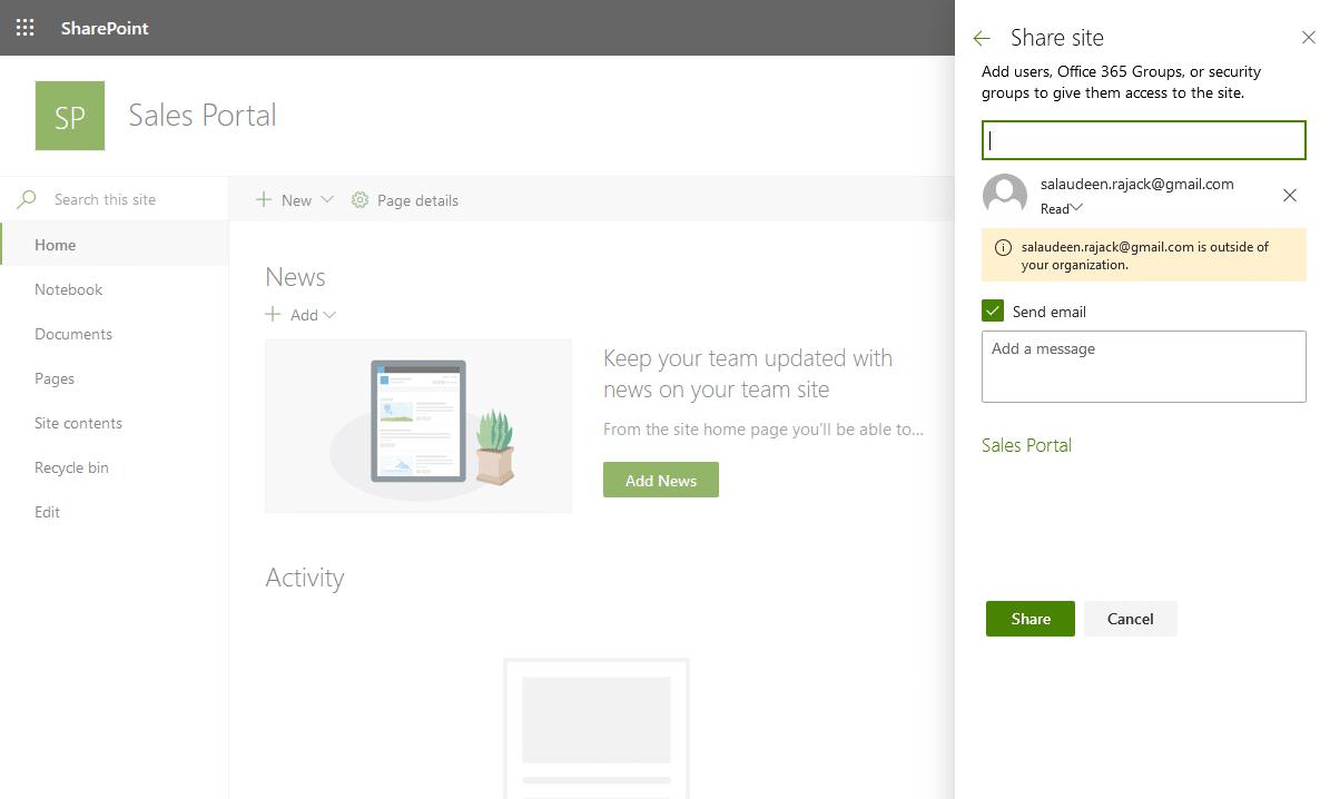 add external user to sharepoint online powershell