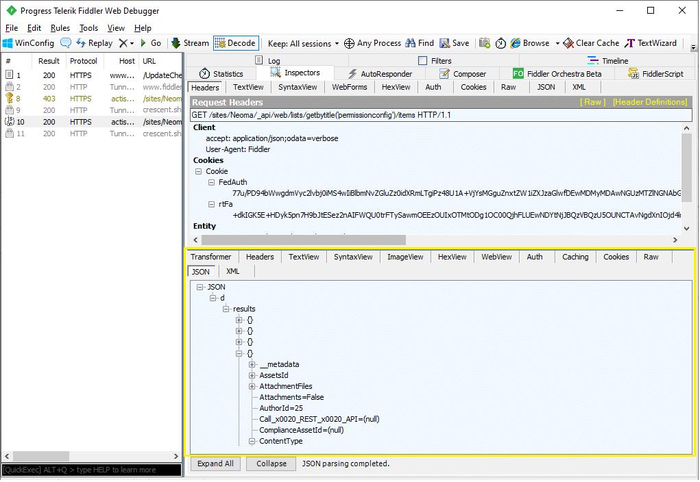 call REST API call from SharePoint Online using fiddler