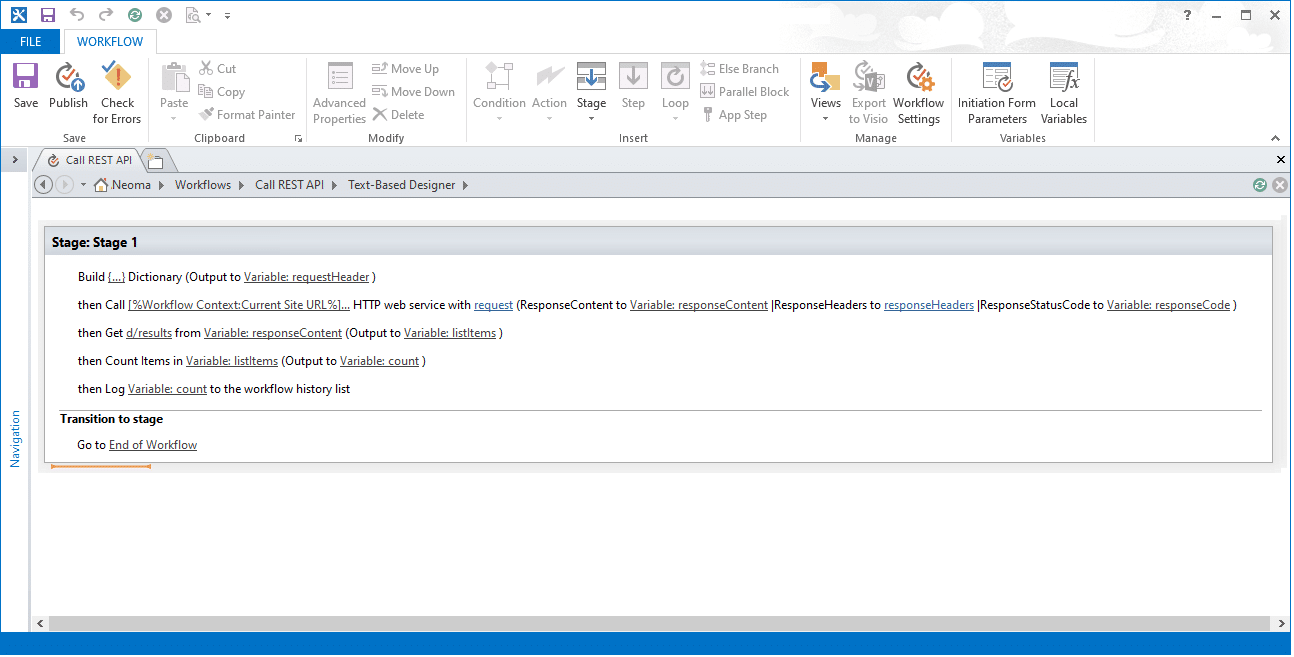 calling rest api from sharepoint designer workflow