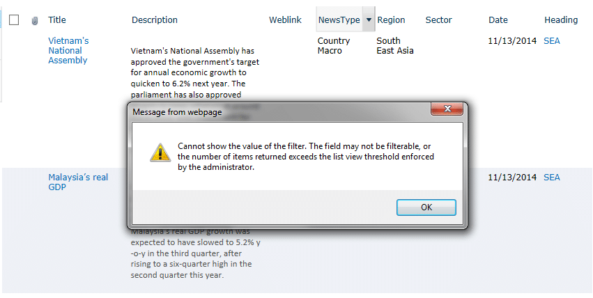 Cannot show the value of the filter. The field may not be filterable, or the number of items returned exceeds the list view threshold enforced by the administrator