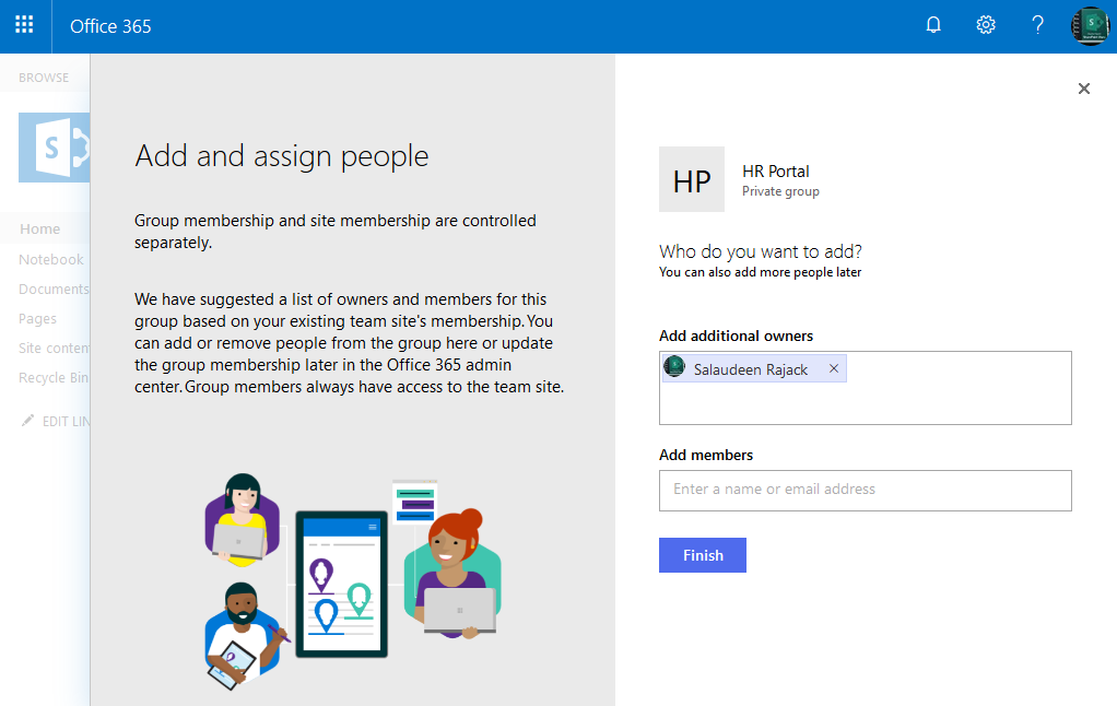 connect sharepoint site to new office 365 group