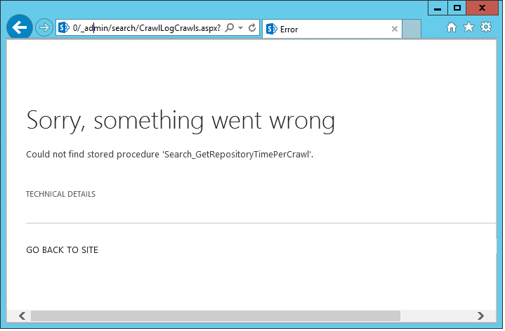 Could not find stored procedure 'Search_GetRepositoryTimePerCrawl'