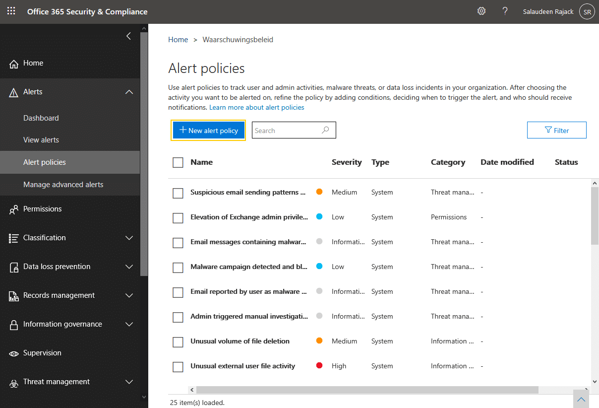 SharePoint Online: How to Create Alerts in Office 365 Security & Compliance Center?