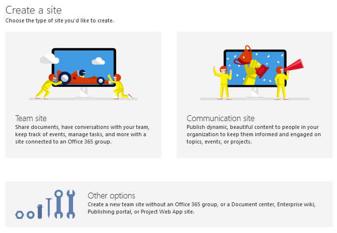 create modern site collection in sharepoint online