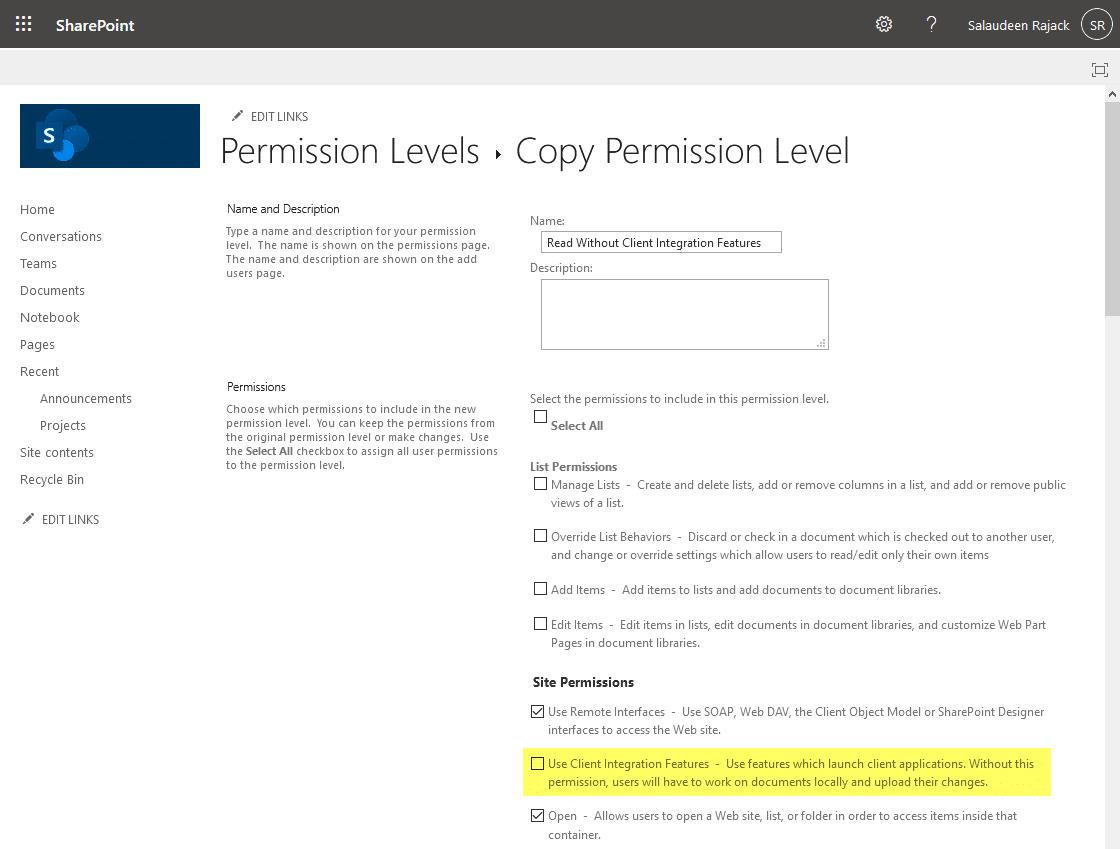 create permission level without Client Integration Features