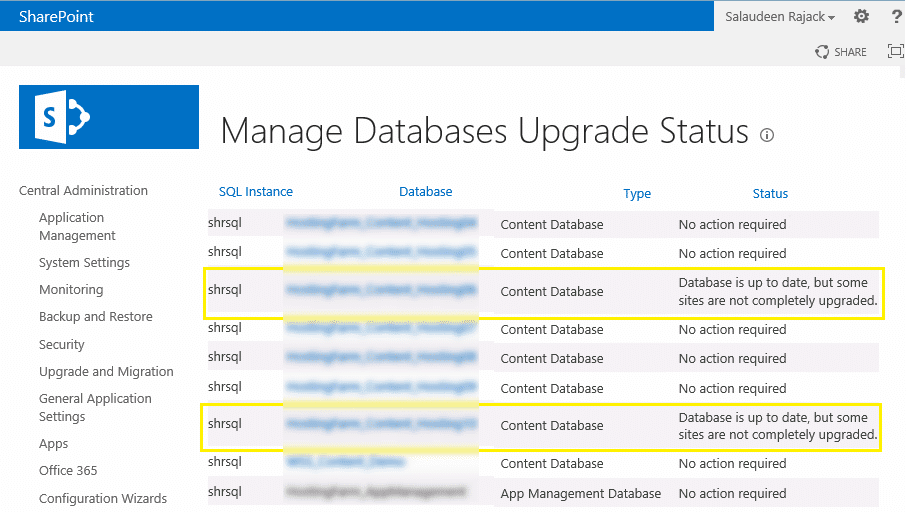 Database is up to date, but some sites are not completely upgraded
