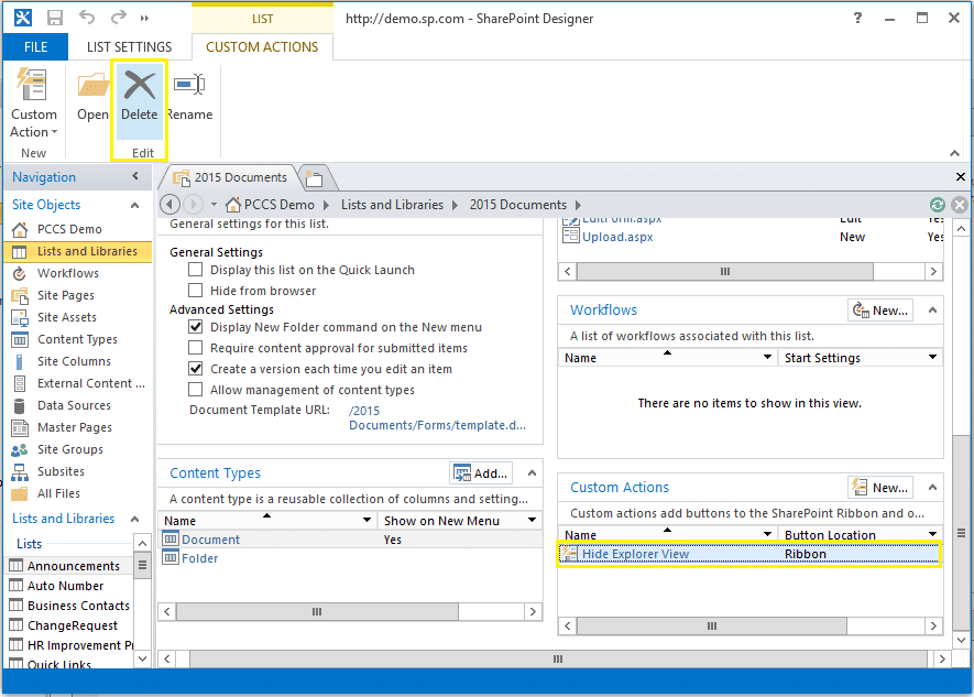 remove custom action from sharepoint designer 2013