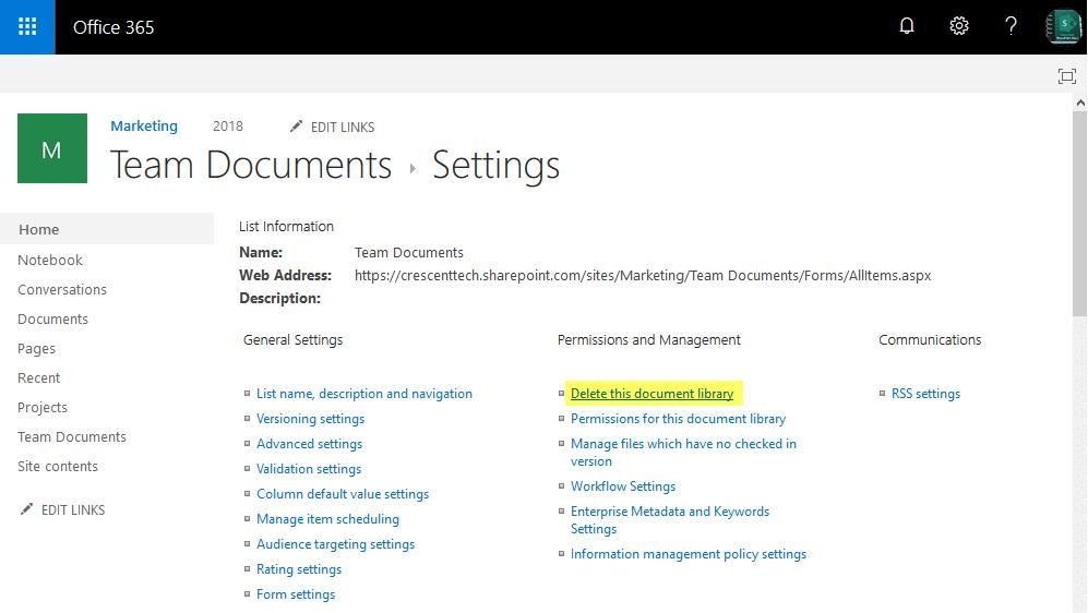 delete document library sharepoint online powershell