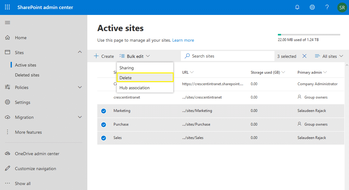 delete multiple site collections in sharepoint online