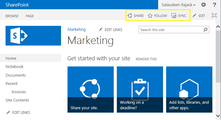 sharepoint 2013 disable share, follow, sync buttons