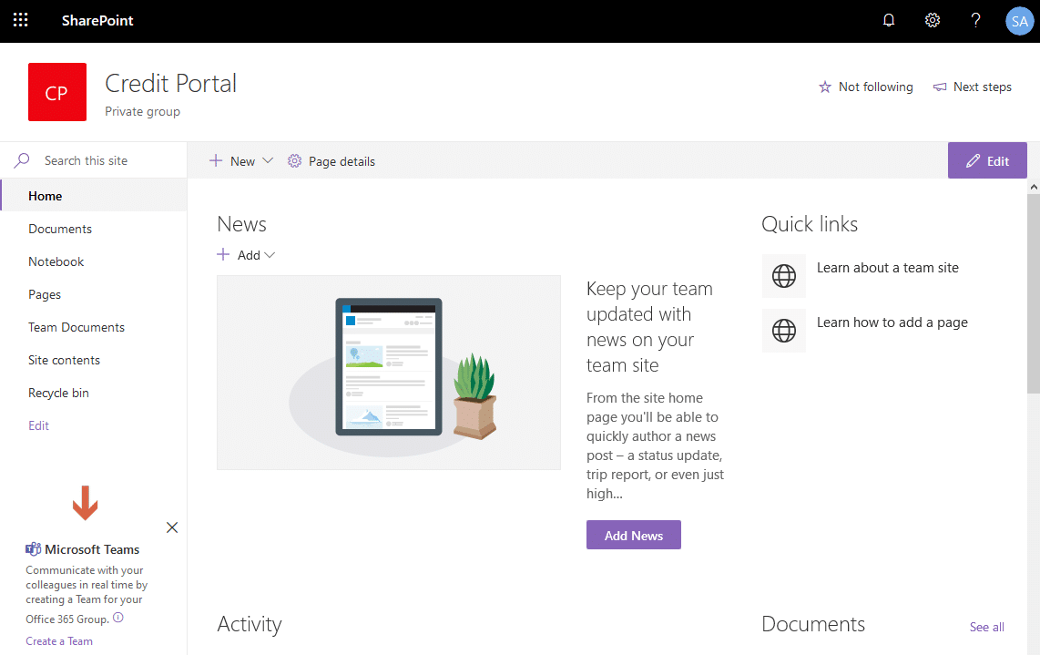 disable microsoft teams prompt in sharepoint online