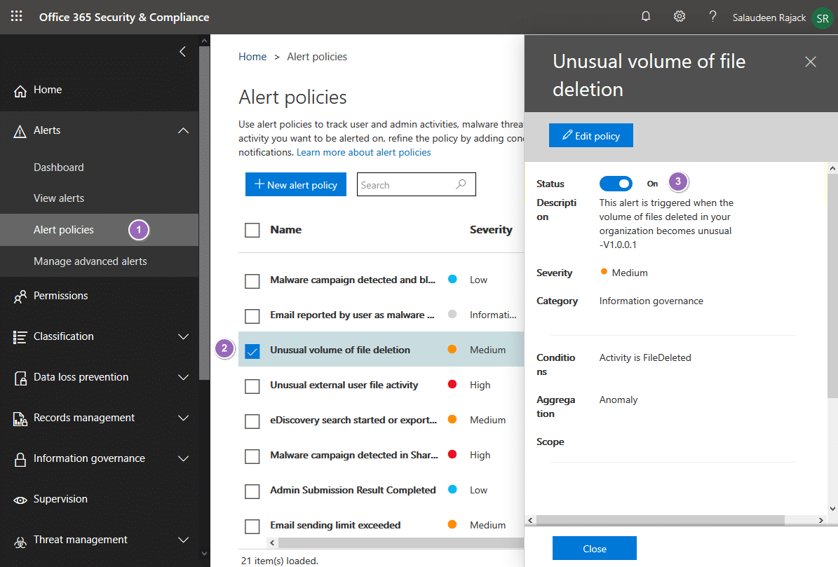 disable unusual volume of file deletion alert policy