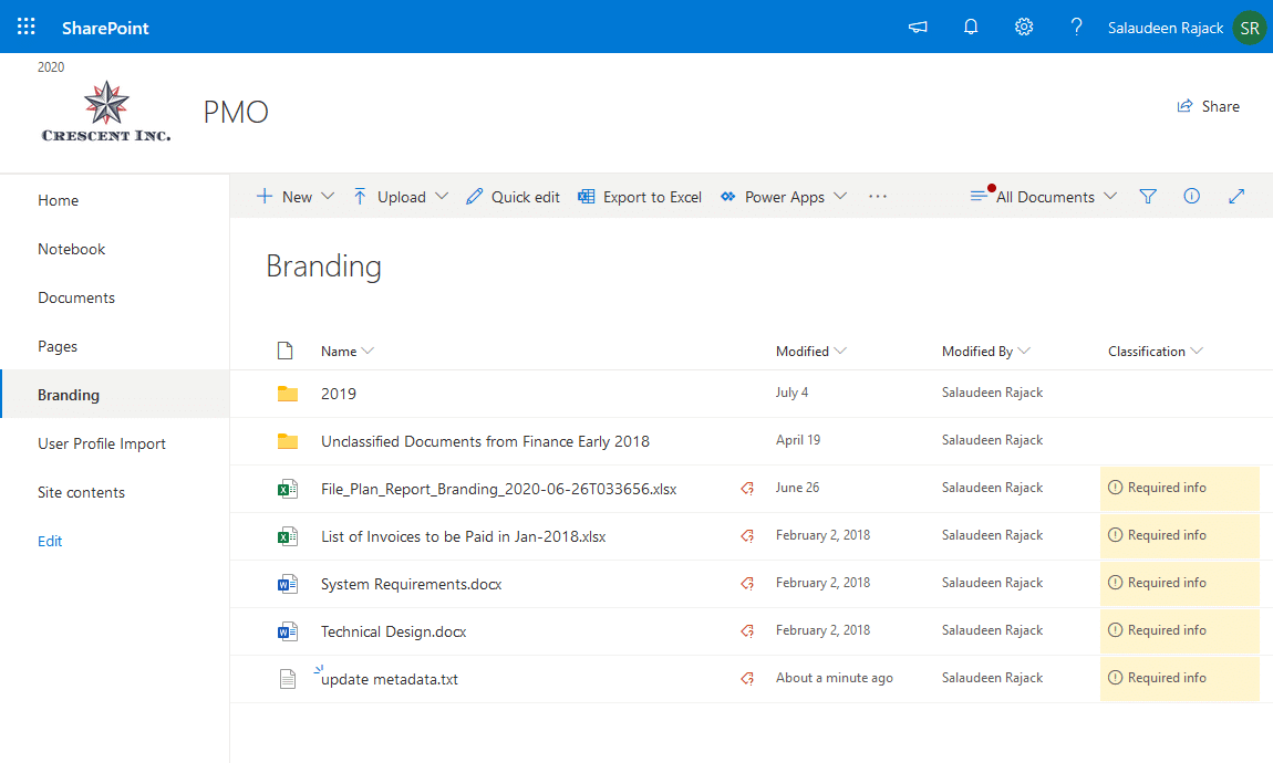 document library required field in sharepoint online