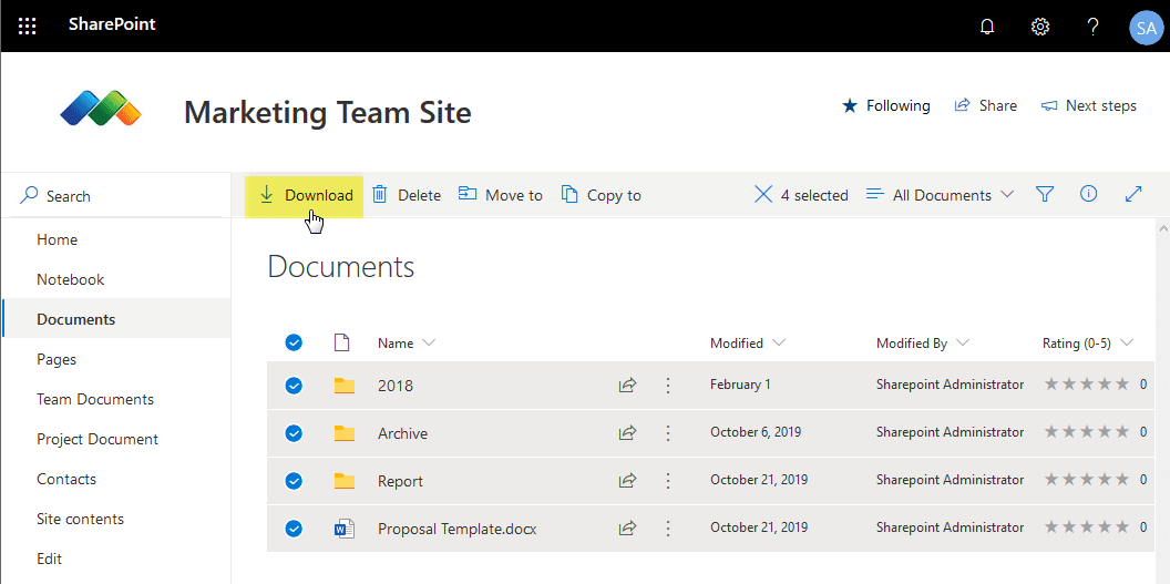 sharepoint online powershell download document library