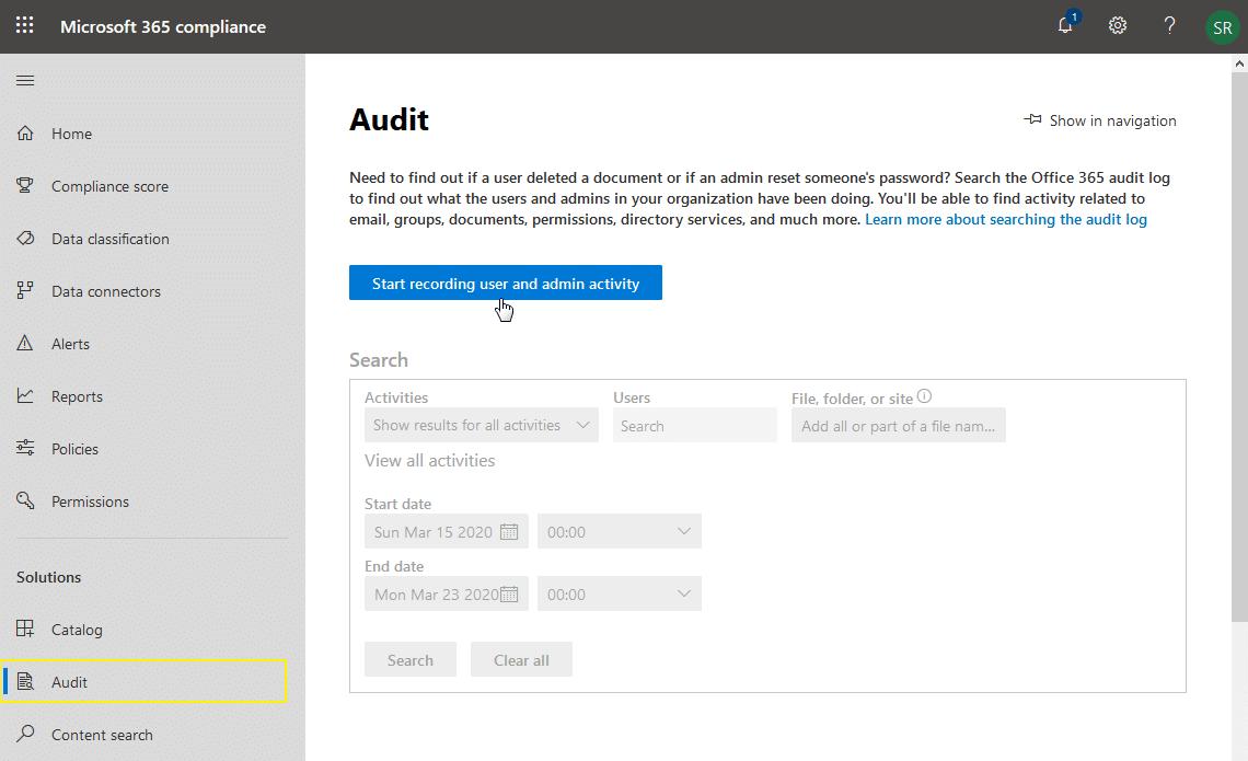 enable audit log for sharepoint online