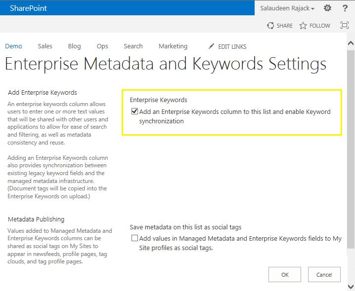 Add Enterprise Keywords Column To SharePoint List or Library