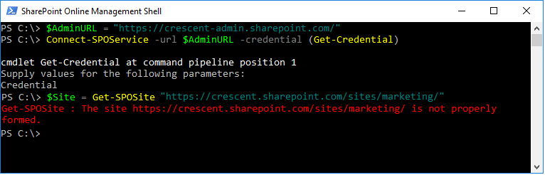 """Get-SPOSite: The Site """"https://tenant.sharepoint.com/"""" is not properly formed"""