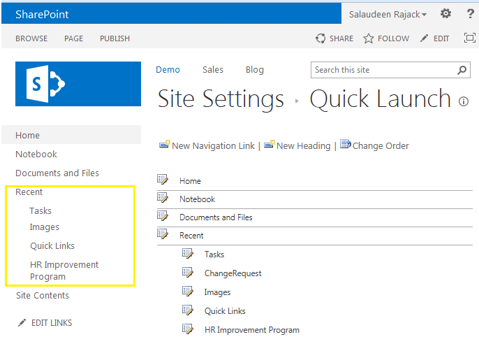 sharepoint 2013 hide recent in quick launch