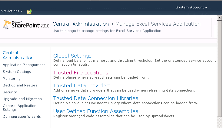 add excel services trusted location in sharepoint 2010