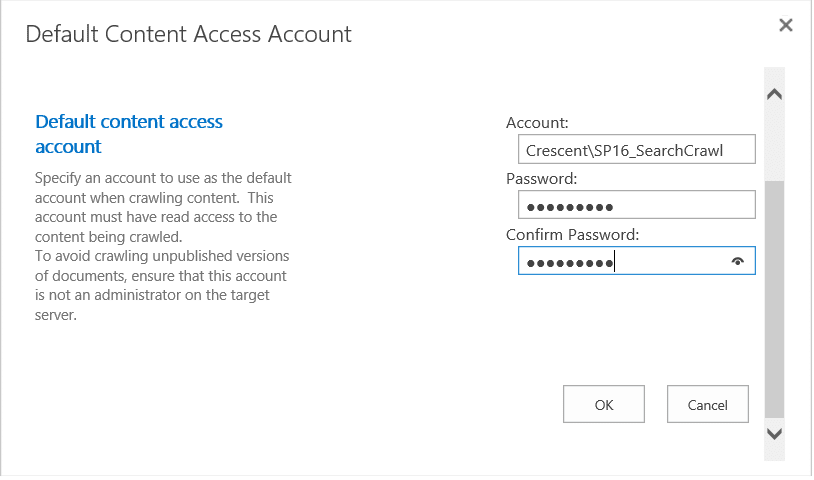 How to Change Default Content Access Crawl Account in SharePoint 2016 Search