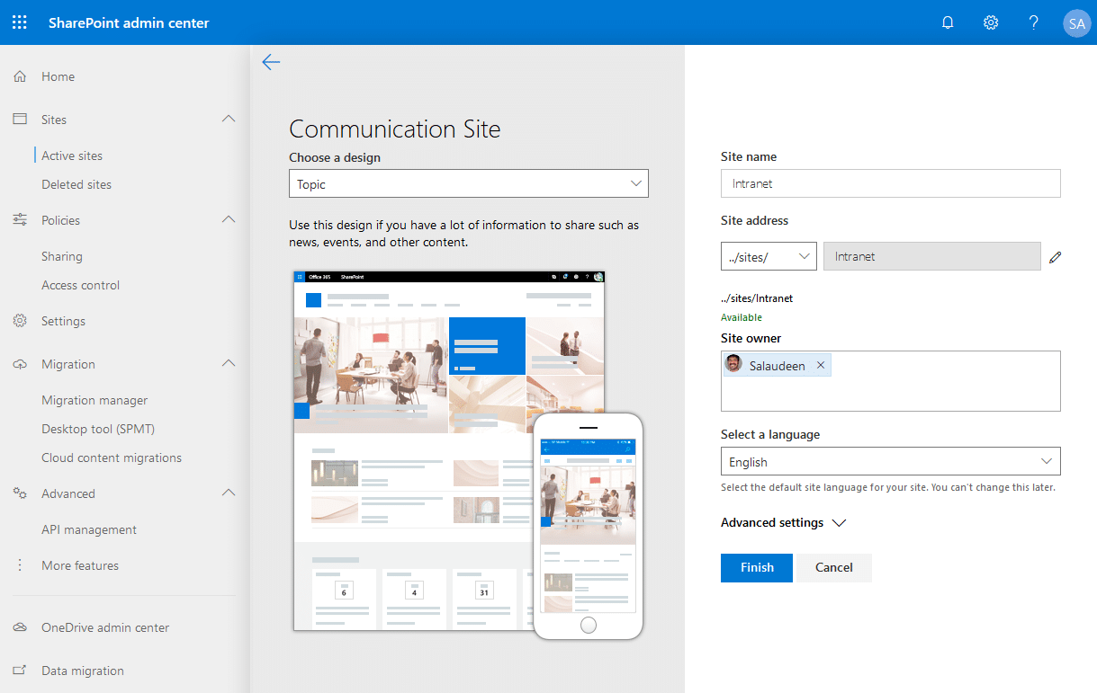 how to create communication site in sharepoint online