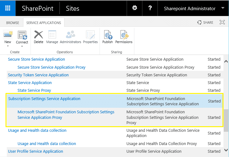how to create subscription settings service application using PowerShell