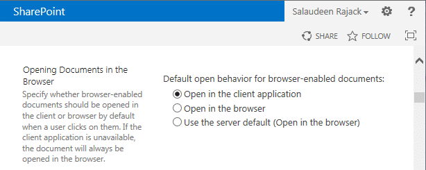 enable open documents in client application