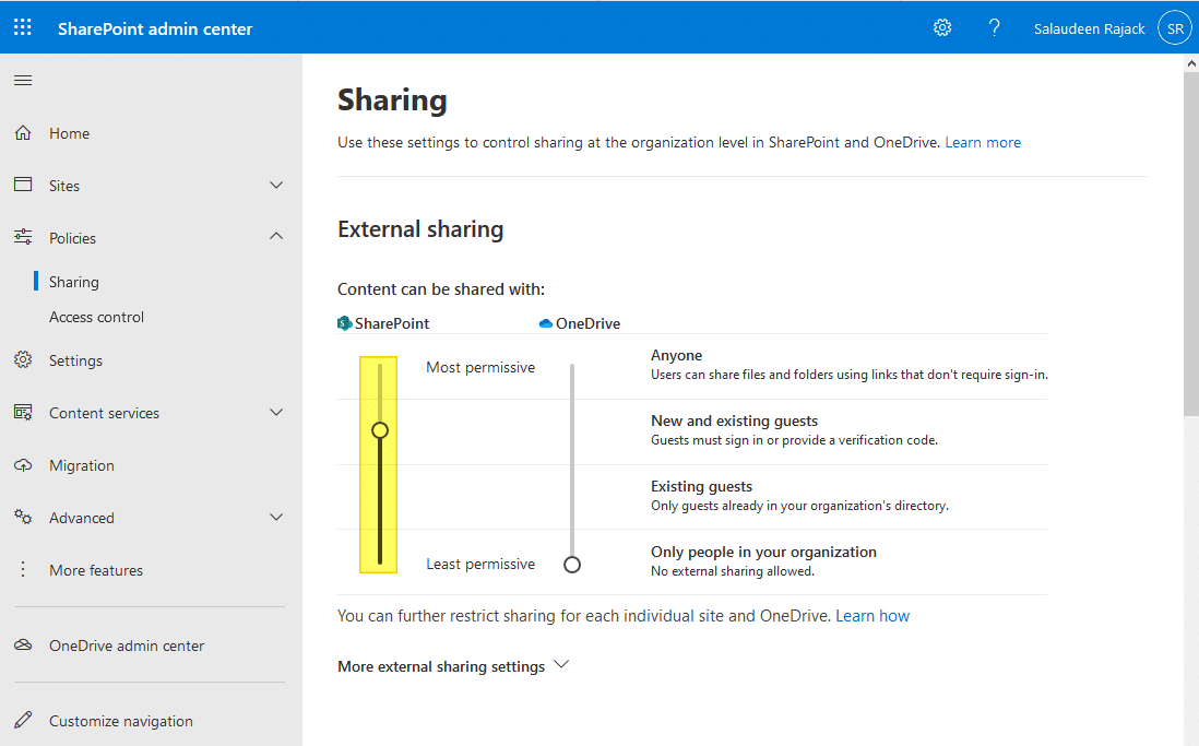 how to enable external sharing in sharepoint online