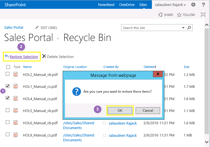 restore deleted file from recycle bin in sharepoint 2013