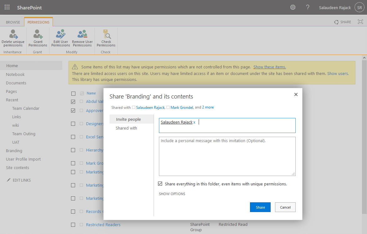 how to share a document library in sharepoint online