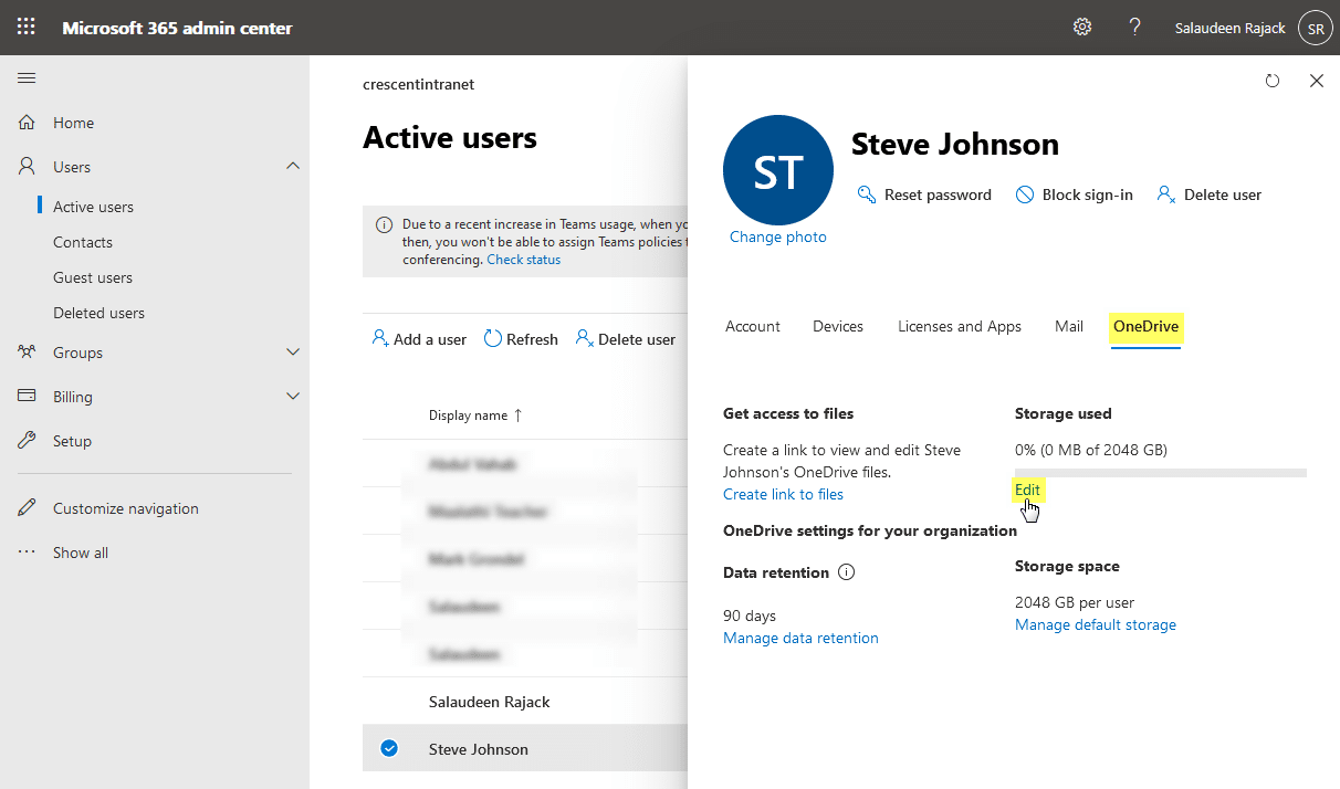 increase onedrive for business storage for one user