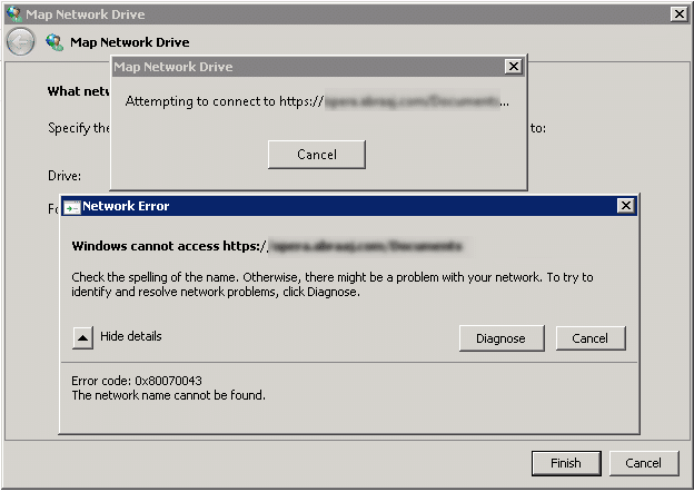 sharepoint 2013 map network drive windows cannot access