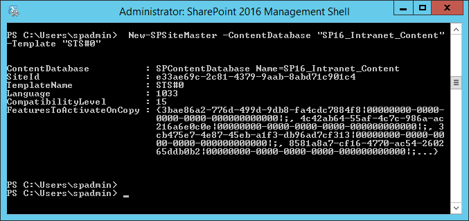 sharepoint 2016 fast site creation