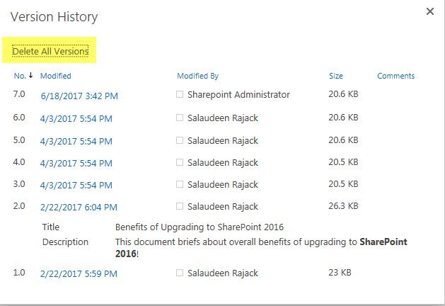 powershell to delete all document versions in sharepoint