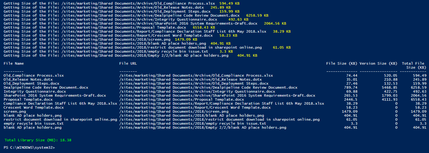 powershell to get document library size in sharepoint online