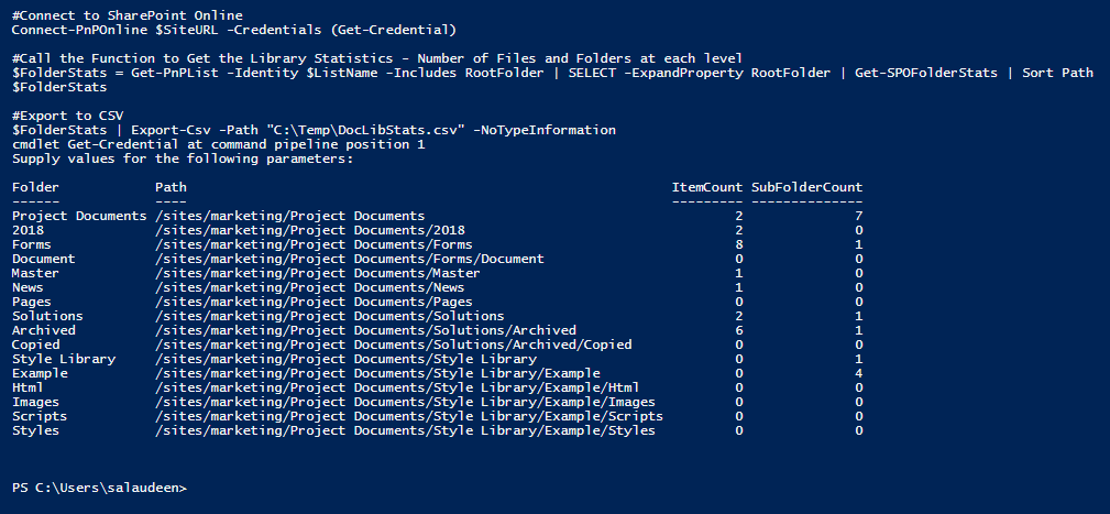 powershell to get number of files and folders count in sharepoint online document library