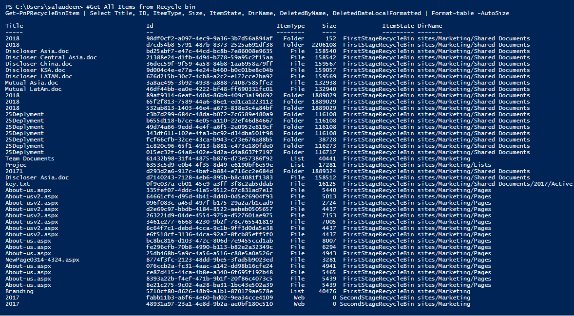 powershell to get recycle bin items in sharepoint online