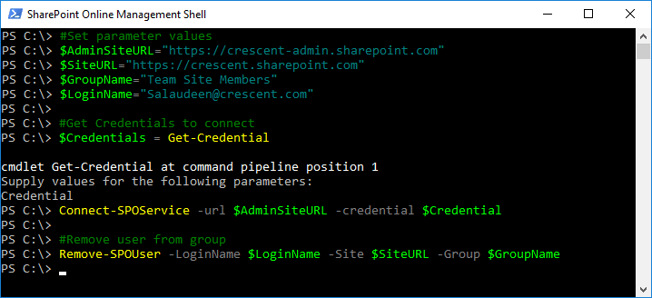 powershell to remove user from group sharepoint online