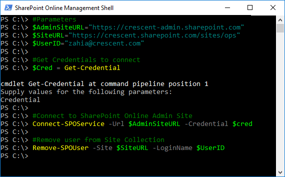 powershell to remove user from site collection in sharepoint online