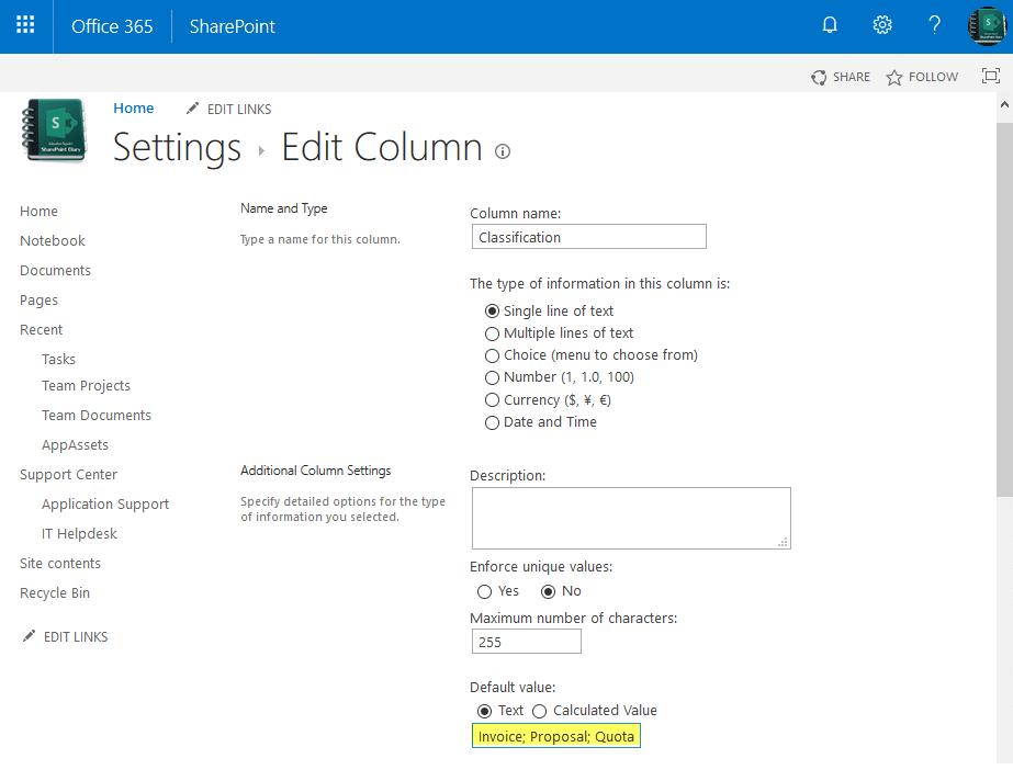 powershell to set sharepoint online column default value settings