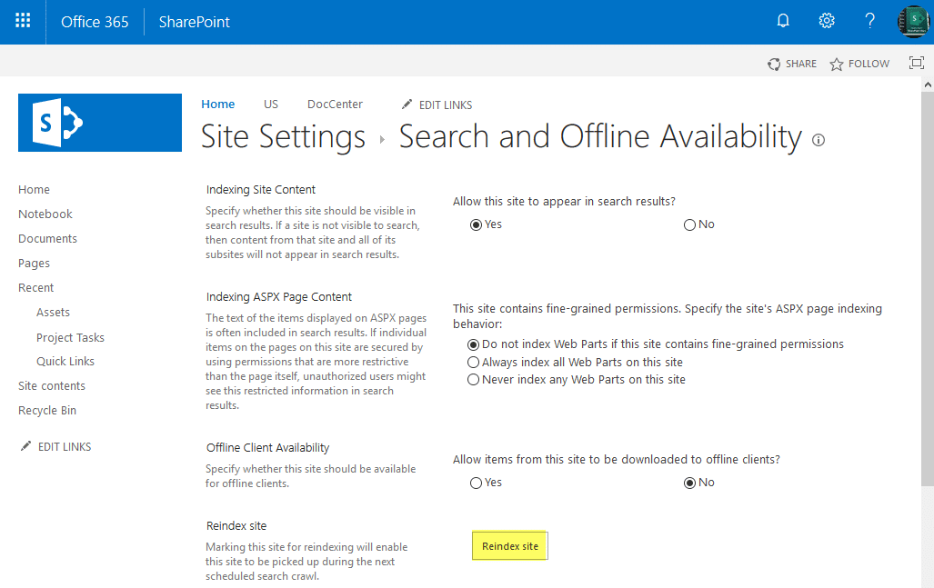 Reindex Site in SharePoint Online using PowerShell