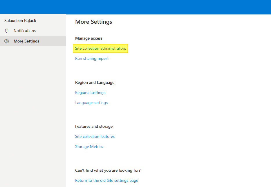 remove onedrive for business site collection administrators