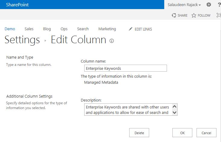 sharepoint remove enterprise keywords column