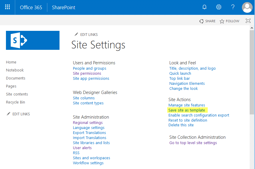 save site as template not available in sharepoint online