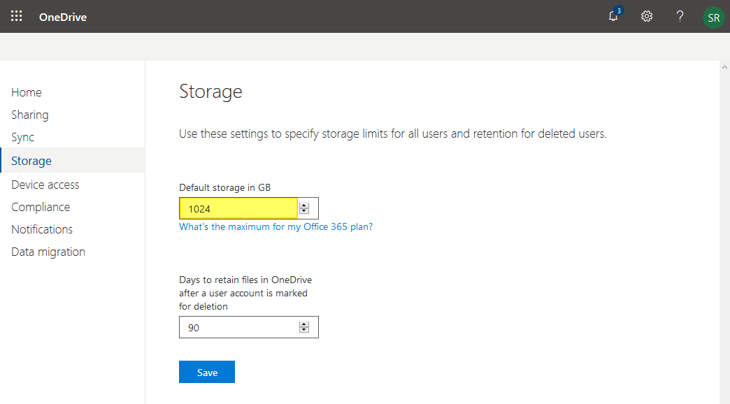 set the default onedrive for business storage space