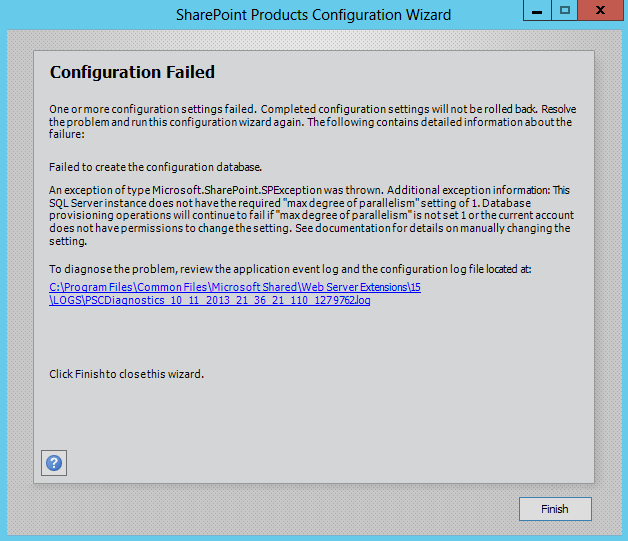 sharepoint 2013 configuration failed max degree of parallelism