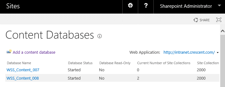 sharepoint 2013 current number of site collections 0