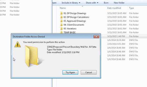 Destination folder access denied. You need permission to perform this action