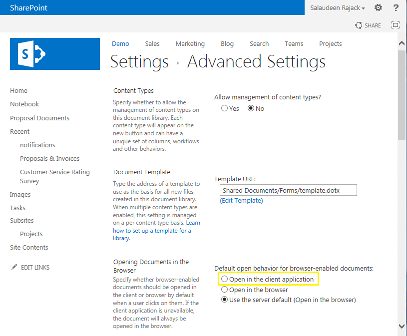 sharepoint 2013 open document in application