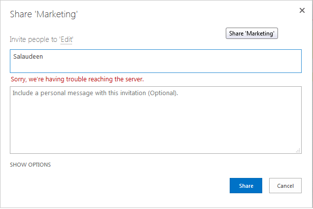 """SharePoint 2013 People Picker error """"Sorry, we're having trouble reaching the server"""""""